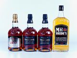 4 BTLES : 1 Whisky 100 cl Mc Bride's Finest Blnded in oak Casks 40 % col. ; 2 Brandy de Jerez Solera...